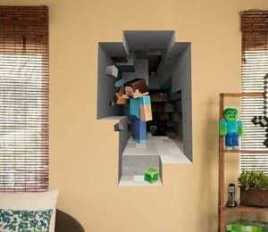 JINX Minecraft Wall Cling Decal Set (Minecart, Steve)