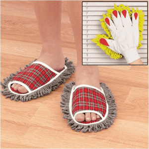 Leegoal Plaid Dusting Microfiber Cleaning Slippers,Red