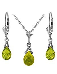 14k Solid Gold Jewelry Set: Natural Briolette 7 Carat Total Peridot Pendant Necklace and Dangle Earrings
