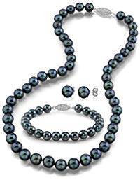 THE PEARL SOURCE 14K Gold Round Black Akoya Cultured Pearl Necklace, Bracelet & Earrings Set in 18