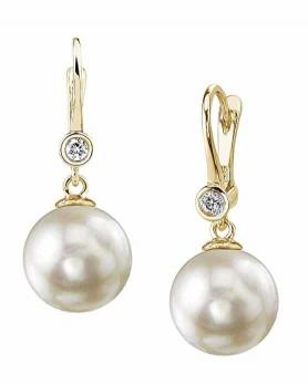 THE PEARL SOURCE 14K Gold AAA Quality Round Genuine White Akoya Cultured Pearl & Diamond Michelle Earrings for Women