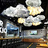 IJ INJUICYLighting Loft Modern E27 Led Cloud Pendant Lamp Shades Contemporary Cotton Ceiling Light Fixtures Xmas Wedding Chandelier Children's Bedroom Dining Living Room Home Bar Cafe Decor(31.5 Inch)