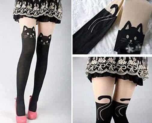 Rbenxia Kitten Print Knee High Length Socks CAT Tail Tattoo Tights Pantyhose