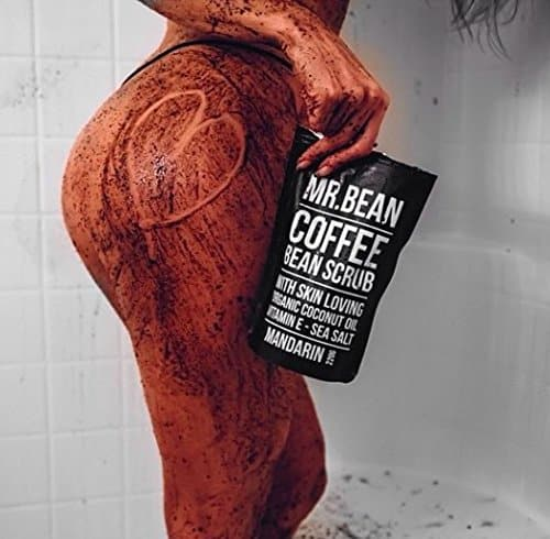 Mr. Bean Organic All Natural Coffee Bean Exfoliating Body Skin Scrub with Coconut Oil, Vitamin E, and Sea Salt - Mandarin