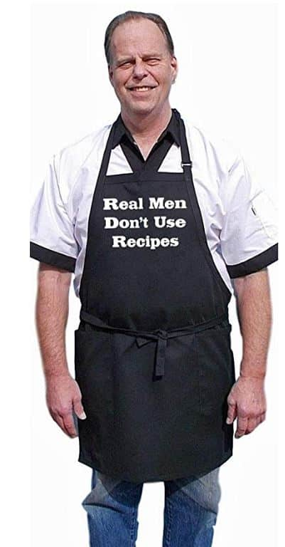 CoolAprons Real Men Don't Use Recipes Black Grilling Apron