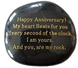 "Anniversary Gift""Happy Anniversary! My heart Beats for you Every second of the clock. I am yours. And you, are my rock."" Engraved Rock, Anniversary gifts for men or women."