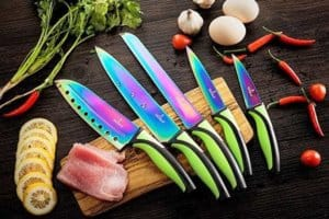 SiliSlick Kitchen Knife Set | 5 Elegant Knives, Chef-Quality, Premium SS Blades With Ergonomic Handles, Rainbow Effects With Titanium Coating, Safety Sheath, Perfect For Home & Pro Use, Best Gift