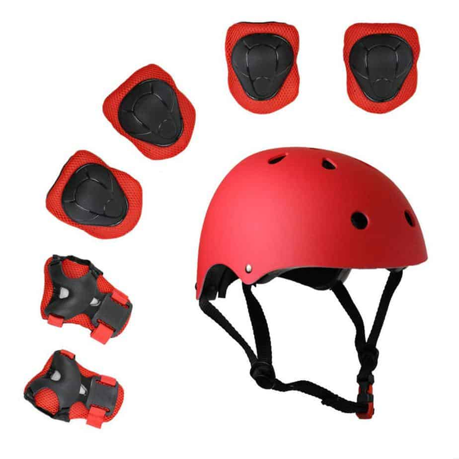 Lucky-M Kids 7 Pieces Outdoor Sports Protective Gear Set Boys Girls Cycling Helmet Safety Pads Set [Knee&Elbow Pads Wrist Guards] Roller Scooter Skateboard Bicycle(3-8 Years Old)