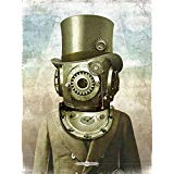 steampunk gears deep sea diver antique pocket watch surreal art poster | Vintage surreal nautical diving scuba science mechanical clock | Unique and ready to frame 18x24 poster print