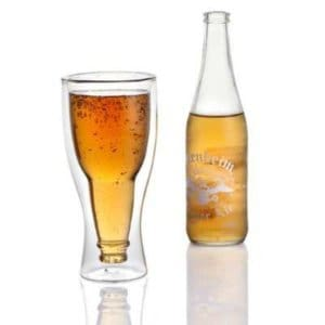 Lily's Home Upside Down Double Wall Beer Glass, Insulated and Ideal for Beer or Other Cold Beverages (12 oz. Each, Single)