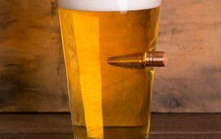 Lucky Shot .50 Cal Real Bullet Handmade Pint Glass - Set of 4