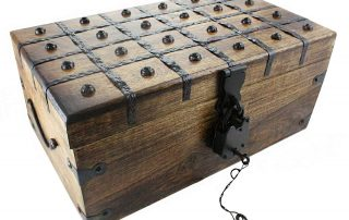 Wooden Pirate Treasure Chest Box 17 x 10 x 8 Includes Iron Lock Trunk Skeleton Keys By Well Pack Box